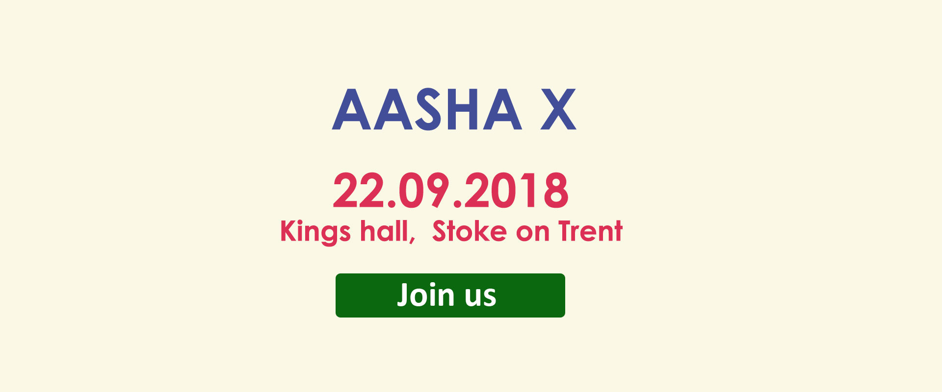 Aasha X 22.09.2018 Kings hall, Stoke on Trent, Coming soon